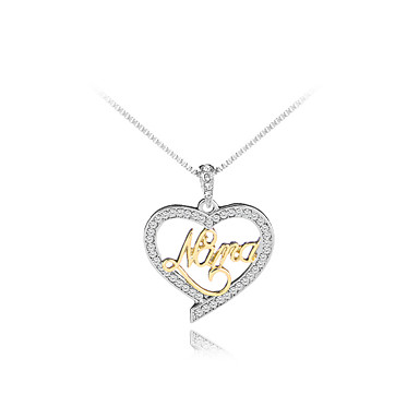 94dfe3b826b Women's Cubic Zirconia Pendant Necklace Name Heart Letter Fashion Cute  Initial Chrome Imitation Diamond Golden+Silver 45+5 cm Necklace Jewelry 1pc  For Gift ...