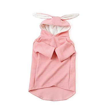 cheap Dog Clothing & Accessories-Dogs Coat Sweatshirt Dog Clothes Solid Colored Character Gray Pink Fabric Costume For Corgi Beagle Bulldog Spring Summer Male Female Animals Sweet Style