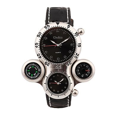 Недорогие Часы на кожаном ремешке-Oulm Муж. Спортивные часы Японский Кварцевый Кожа Черный Термометр Компас С двумя часовыми поясами Аналоговый Роскошь - Белый Черный Один год Срок службы батареи