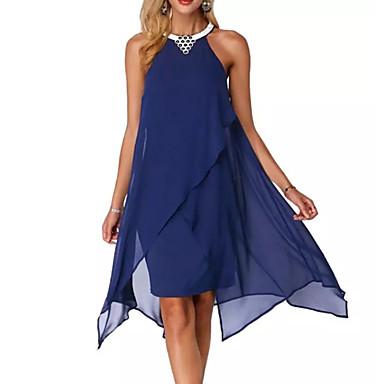 cheap Midi Dresses-Women's Party Sexy Chiffon Dress - Solid Colored Navy Blue Purple XL XXL XXXL