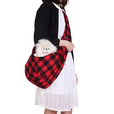 رخيصةأون مستلزمات وأغراض العناية بالكلاب-كلاب قطط حقيبة الكتف حيوانات أليفة حاملات المحمول تصميم الكارتون السفر Plaid / Check أحمر أسود / أبيض
