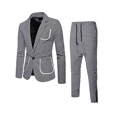 economico Abbigliamento uomo-Per uomo Completi, Pied-de-poule / A scacchi Bavero classico Cotone / Poliestere Verde / Bianco / Rosso L / XL / XXL