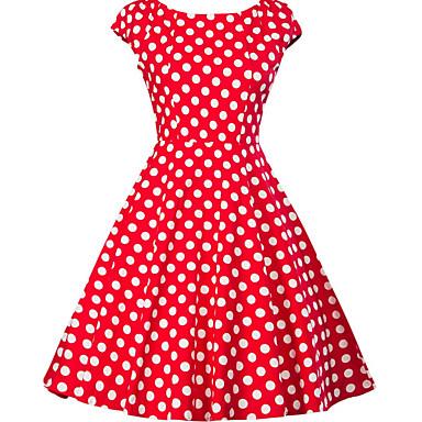 Dame Plusstørrelser I-byen-tøj 1950'erne A-linje Kjole - Prikker, Trykt mønster Knælang V-hals
