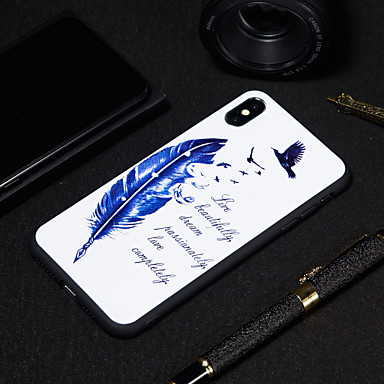 abordables Coques pour iPhone 5-Coque Pour Apple iPhone XR / iPhone XS Max Dépoli / Motif Coque Mot / Phrase / Plumes Flexible TPU pour iPhone XS / iPhone XR / iPhone XS Max