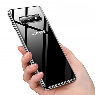 voordelige Galaxy S-serie hoesjes / covers-hoesje Voor Samsung Galaxy Galaxy S10 / Galaxy S10 Plus Stofbestendig / Beplating / Transparant Achterkant Effen Zacht TPU