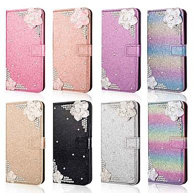 voordelige Galaxy J-serie hoesjes / covers-hoesje Voor Samsung Galaxy J8 (2018) / J7 (2017) / J7 (2018) Portemonnee / Kaarthouder / Strass Volledig hoesje Glitterglans / Strass / Bloem Hard PU-nahka