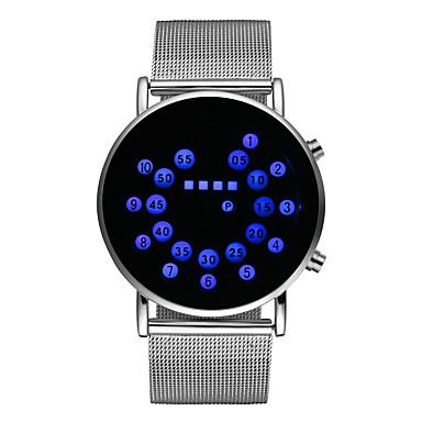 Недорогие Часы на металлическом ремешке-Муж. Нарядные часы Кварцевый Нержавеющая сталь Серебристый металл Светящийся Цифровой Блестящие Мода - Оранжево-красный Синий Один год Срок службы батареи