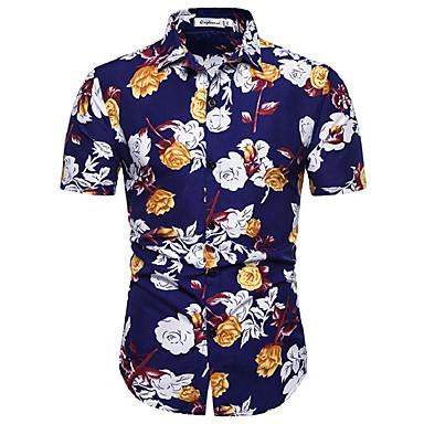 baratos Roupa de Homem Moderna-Homens Tamanho Europeu / Americano Camisa Social Estampado, Floral / Geométrica / Gráfico Algodão Azul Marinha XL