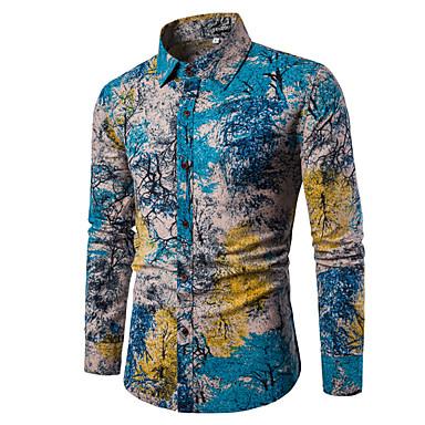 billige Herrers Mode Beklædning-Bomull Tynn Spredt krage Skjorte Herre - Blomstret / Ruter / Paisly Vintage / Bohem Lyseblå XXXL / Langermet / Vår / Høst