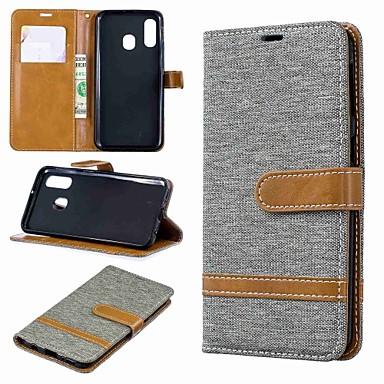 voordelige Galaxy A-serie hoesjes / covers-hoesje Voor Samsung Galaxy A6 (2018) / A6+ (2018) / Galaxy A7(2018) Portemonnee / Kaarthouder / met standaard Volledig hoesje Tegel Hard tekstiili