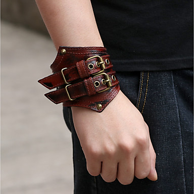 45046d04eec5c Men's Leather Bracelet Bracelet Wide Bangle Retro Weave Punk Fashion ...