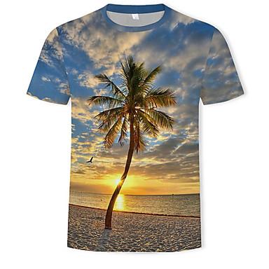 economico Abbigliamento uomo-T-shirt Per uomo Essenziale / Boho Con stampe, Monocolore / 3D Rotonda Arcobaleno XL / Manica corta