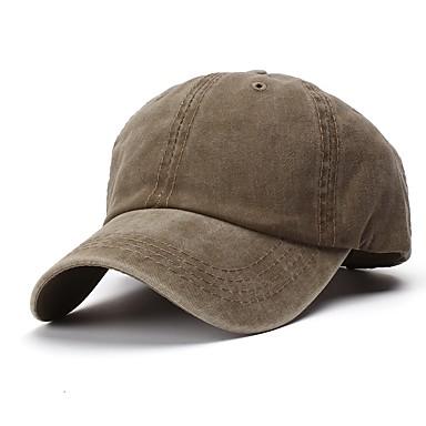 رخيصةأون ملابس رجالي-كل الفصول أخضر داكن كاكي أزرق البحرية قبعة البيسبول لون سادة للجنسين قطن,أساسي