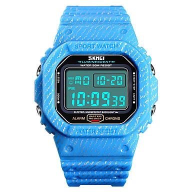 זול שעוני גברים-SKMEI בגדי ריקוד גברים שעונים צבאיים דיגיטלי סיליקוןריצה כחול / ירוק / אפור 50 m Military עמיד במים Alarm דיגיטלי חוץ אופנתי - כחול בהיר חאקי ירוק כהה שנה אחת חיי סוללה
