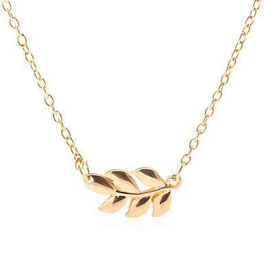 billige Mode Halskæde-Dame Halskædevedhæng Bladformet Simple Koreansk Mode Sej Guld Sort Sølv 50+5 cm Halskæder Smykker 1pc Til Daglig Gade Ferie Arbejde