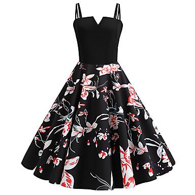 billige Dametøj-Dame Vintage Swing Kjole - Blomstret, Trykt mønster Midi