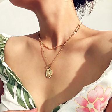 Női Nyaklánc medálok Nyaklánc Rakott nyakláncok Romantikus Elegáns Króm Arany Ezüst 35 cm Nyakláncok Ékszerek 1db Kompatibilitás Ajándék Napi Klub Fesztivál / hosszú nyaklánc