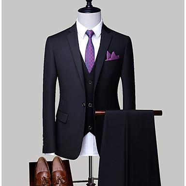 economico Abbigliamento uomo-Per uomo Taglie forti Completi, Tinta unita Colletto Poliestere Grigio chiaro / Royal Blue / Lavanda XXL / XXXL / XXXXL