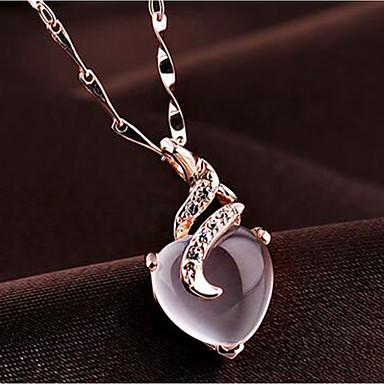 Pentru femei Chrysoberyl pentru ochi de pisică Coliere cu Pandativ Inimă Articole de ceramică Roz auriu 54 cm Coliere Bijuterii 1 buc Pentru Zilnic