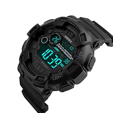 SKMEI Herre Digital Watch Digital Silikone Sort 50 m Vandafvisende Kalender Dobbelte Tidszoner Digital Afslappet Udendørs - Guld Sort Rød