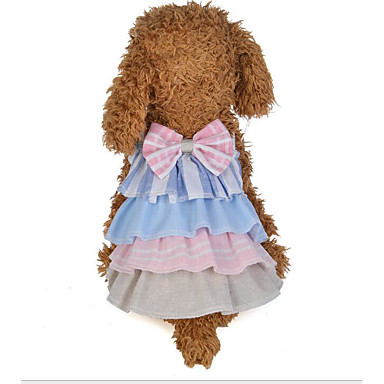 cheap Dog Clothing & Accessories-Dogs Cats Dress Dog Clothes Color Block Gray Pink Cotton Costume For Pomeranian Summer Female Stylish Cute