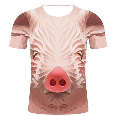 economico Abbigliamento uomo-T-shirt - Taglie forti Per uomo Moda città / Esagerato Con stampe, A strisce / 3D / Animali Rotonda - Cotone Beige XXL
