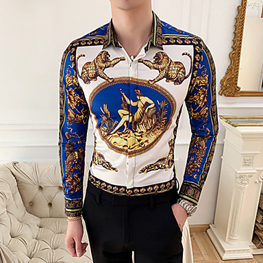 economico Abbigliamento uomo-Camicia - Taglie UE / USA Per uomo Con stampe, Animali / Tribale Blu L / Manica lunga