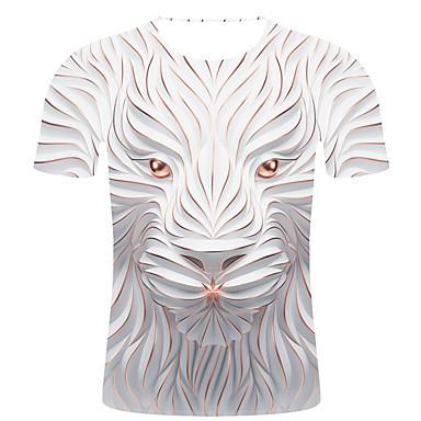 economico Abbigliamento uomo-T-shirt - Taglie forti Per uomo Moda città / Esagerato Con stampe, A strisce / 3D / Animali Rotonda - Cotone Bianco XXL