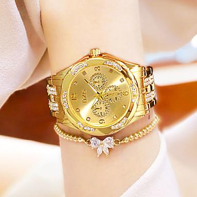 preiswerte Damen Uhren-Damen Quartz Uhr Modisch Silber Gold Rotgold Edelstahl Chinesisch Quartz Gold Silber Rotgold Wasserdicht Kreativ Armbanduhren für den Alltag 30 m 1 Stück Analog Ein Jahr Batterielebensdauer
