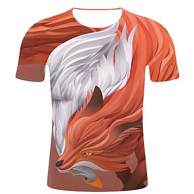 economico Abbigliamento uomo-T-shirt - Taglie forti Per uomo Moda città / Esagerato Con stampe, A strisce / 3D / Animali Rotonda - Cotone Arancione XXL