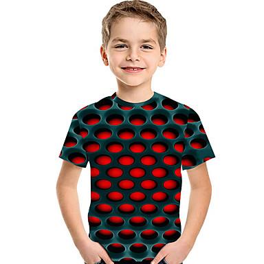 cheap Boys' Tops-Kids Toddler Boys' Active Basic Geometric Print Print Short Sleeve Tee Red