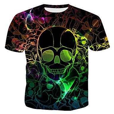 economico Abbigliamento uomo-T-shirt - Taglie UE / USA Per uomo Serata Punk & Gotico / Esagerato Con stampe, 3D / Pop art / Teschi Rotonda - Cotone Nero XL / Manica corta / Taglia piccola
