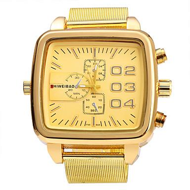 Недорогие Часы на металлическом ремешке-SHI WEI BAO Муж. Армейские часы Кварцевый Нержавеющая сталь Золотистый Крупный циферблат Аналоговый Винтаж Мода - Золотистый Один год Срок службы батареи