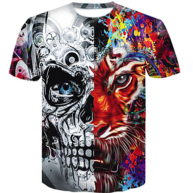 economico Abbigliamento uomo-T-shirt - Taglie forti Per uomo Teschi Rotonda - Cotone Arcobaleno XXL / Taglia piccola