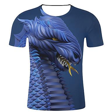 economico Abbigliamento uomo-T-shirt - Taglie forti Per uomo Punk & Gotico / Esagerato Con stampe, A strisce / 3D / Animali Rotonda - Cotone Blu XXL