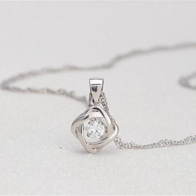 billige Mode Halskæde-Dame Kvadratisk Zirconium Halskædevedhæng Blomst Simple Sølv 40+4 cm Halskæder Smykker 1pc Til Daglig