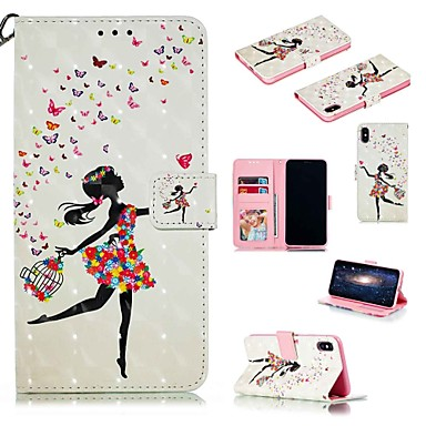 voordelige iPhone-hoesjes-hoesje voor apple iphone xr / iphone xs max flip / met standaard / schokbestendig full body cases cartoon / sexy lady hard pu leer voor iphone 6 / 6s plus / 7/8 plus / xs / x