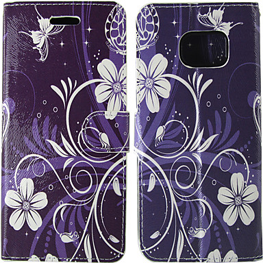voordelige Galaxy S-serie hoesjes / covers-hoesje Voor Samsung Galaxy S8 / S7 / S5 Mini Kaarthouder / Flip Volledig hoesje Effen / Bloem Hard PU-nahka