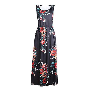 Pentru femei De Bază Șic Stradă Teacă Tricou Rochie - Imprimeu, Floral Bloc Culoare Midi