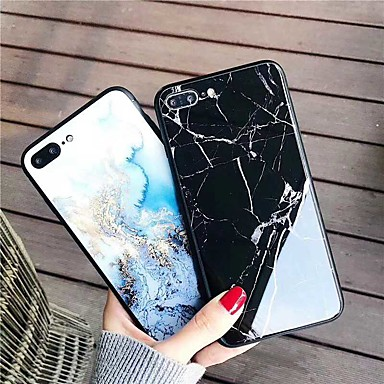 Недорогие Кейсы для iPhone-Кейс для Назначение Apple iPhone XS / iPhone XR / iPhone XS Max С узором Кейс на заднюю панель Мрамор Твердый Закаленное стекло