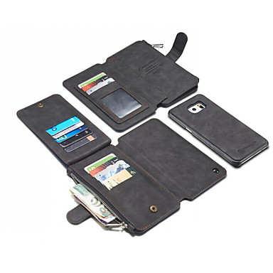 Недорогие Чехлы и кейсы для Galaxy S6 Edge-Кейс для Назначение Apple S9 / S9 Plus / S8 Plus Кошелек / Бумажник для карт / Защита от удара Кейс на заднюю панель Однотонный Твердый Настоящая кожа