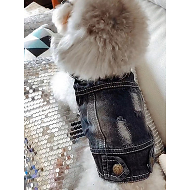 cheap Dog Clothing & Accessories-Dog Denim Jacket / Jeans Jacket Dog Clothes Jeans Blue Denim Costume For Spring &  Fall Winter Men's Women's Cowboy Fashion