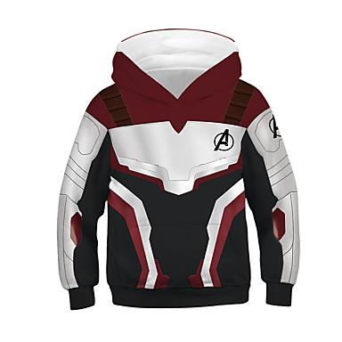 cheap Boys' Hoodies & Sweatshirts-Kids Boys' Street chic Color Block Long Sleeve Cotton Hoodie & Sweatshirt White