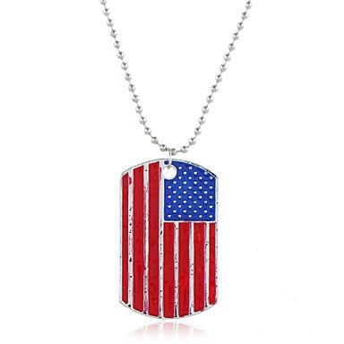 Недорогие Модные ожерелья-Жен. Ожерелья с подвесками Классический американский флаг Флаг Патриотические украшения европейский модный Милая Мода Хром Серебряный 40+5 cm Ожерелье Бижутерия 1шт Назначение