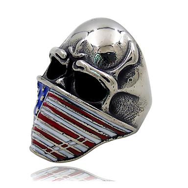 זול טבעות-בגדי ריקוד גברים פיסול דגל אמריקאי טבעת גולגולת פאנק ארופאי טרנדי Fashion Ring תכשיטים שחור / כחול עבור יומי רחוב פֶסטִיבָל