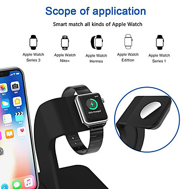 voordelige Apple Watch-bevestigingen & -houders-2 in 1 qi draadloze opladerstandaard Apple Watch oplaadstandaard voor iphone x / 8/8 plus Apple Watch-serie 321