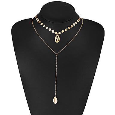 Pentru femei Coliere Layered Multistratificat Scoică Crom Auriu 35.8 cm Coliere Bijuterii 1 buc Pentru Stradă Club
