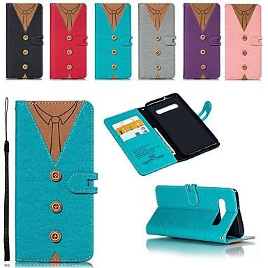 Недорогие Чехлы и кейсы для Galaxy S6 Edge-Кейс для Назначение SSamsung Galaxy S9 / S9 Plus / S8 Plus Бумажник для карт / Защита от удара / со стендом Чехол Геометрический рисунок Твердый холст