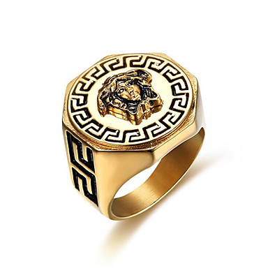 ieftine Inele-Bărbați Inel 1 buc Auriu Oțel titan Geometric Shape Stilat Cadou / Zilnic Costum de bijuterii