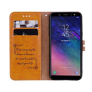 voordelige Galaxy A-serie hoesjes / covers-hoesje Voor Samsung Galaxy A6 (2018) Kaarthouder / Flip Volledig hoesje Effen Hard PU-nahka